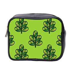 Seamless Background Green Leaves Black Outline Mini Toiletries Bag 2 Side