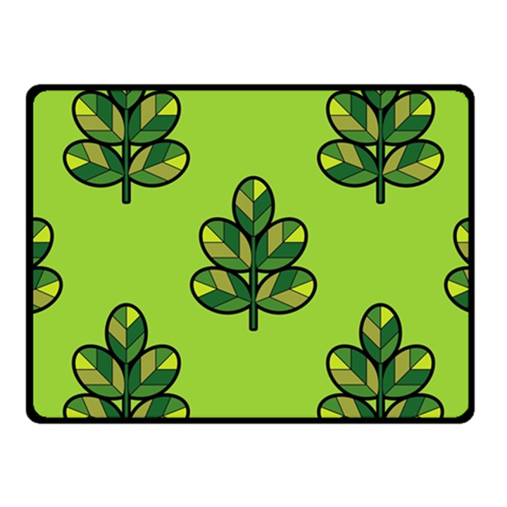 Seamless Background Green Leaves Black Outline Fleece Blanket (Small)