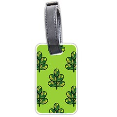 Seamless Background Green Leaves Black Outline Luggage Tags (two Sides)