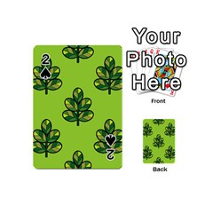 Seamless Background Green Leaves Black Outline Playing Cards 54 (mini)