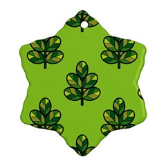 Seamless Background Green Leaves Black Outline Ornament (snowflake)