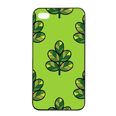 Seamless Background Green Leaves Black Outline Apple Iphone 4/4s Seamless Case (black)