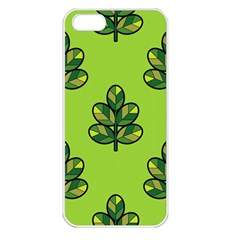 Seamless Background Green Leaves Black Outline Apple Iphone 5 Seamless Case (white)