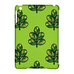 Seamless Background Green Leaves Black Outline Apple Ipad Mini Hardshell Case (compatible With Smart Cover)