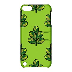 Seamless Background Green Leaves Black Outline Apple Ipod Touch 5 Hardshell Case With Stand