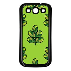 Seamless Background Green Leaves Black Outline Samsung Galaxy S3 Back Case (black)