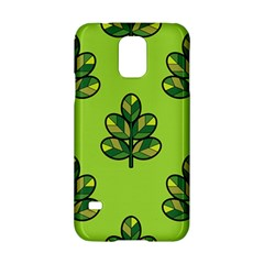 Seamless Background Green Leaves Black Outline Samsung Galaxy S5 Hardshell Case