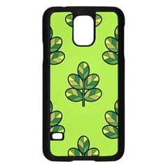 Seamless Background Green Leaves Black Outline Samsung Galaxy S5 Case (black)