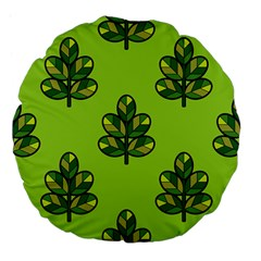 Seamless Background Green Leaves Black Outline Large 18  Premium Flano Round Cushions