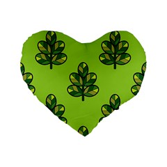 Seamless Background Green Leaves Black Outline Standard 16  Premium Flano Heart Shape Cushions