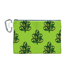 Seamless Background Green Leaves Black Outline Canvas Cosmetic Bag (m)