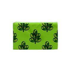 Seamless Background Green Leaves Black Outline Cosmetic Bag (xs)