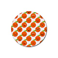Seamless Background Orange Emotions Illustration Face Smile  Mask Fruits Rubber Coaster (round)