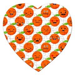 Seamless Background Orange Emotions Illustration Face Smile  Mask Fruits Jigsaw Puzzle (heart)