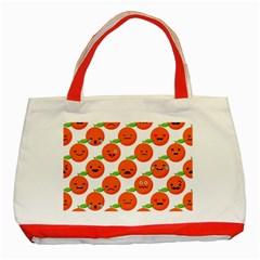 Seamless Background Orange Emotions Illustration Face Smile  Mask Fruits Classic Tote Bag (red)