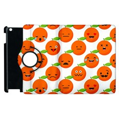 Seamless Background Orange Emotions Illustration Face Smile  Mask Fruits Apple Ipad 2 Flip 360 Case