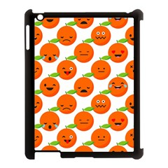 Seamless Background Orange Emotions Illustration Face Smile  Mask Fruits Apple Ipad 3/4 Case (black)