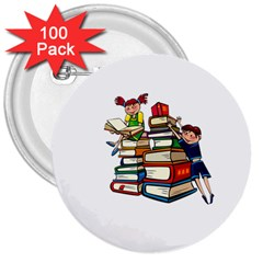 Back To School 3  Buttons (100 Pack)