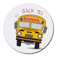 Back To School   School Bus Round Mousepads