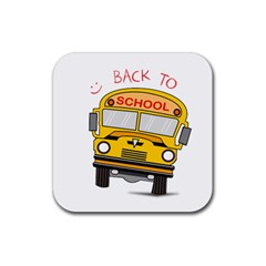 Back To School   School Bus Rubber Square Coaster (4 Pack)