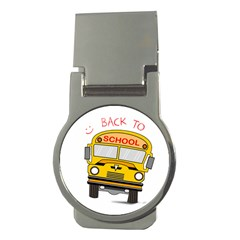 Back To School   School Bus Money Clips (round)