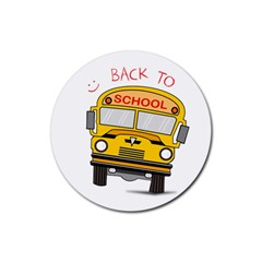Back To School   School Bus Rubber Round Coaster (4 Pack)