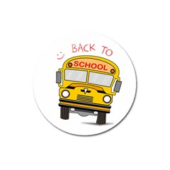 Back To School   School Bus Magnet 3  (round)