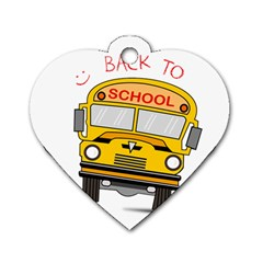 Back To School   School Bus Dog Tag Heart (two Sides)