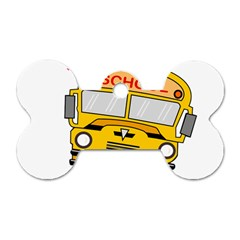 Back To School   School Bus Dog Tag Bone (two Sides)