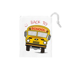 Back To School   School Bus Drawstring Pouches (small)