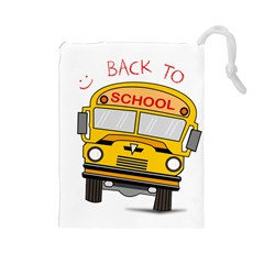 Back To School   School Bus Drawstring Pouches (large)