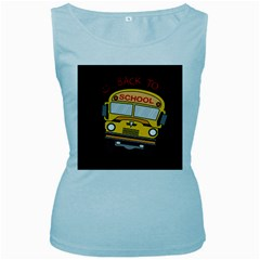 Back To School   School Bus Women s Baby Blue Tank Top