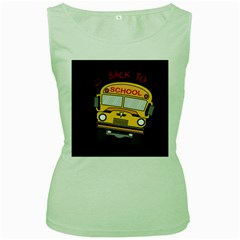 Back To School   School Bus Women s Green Tank Top