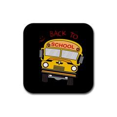 Back To School   School Bus Rubber Coaster (square)