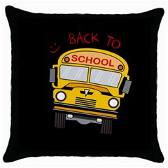 Back To School   School Bus Throw Pillow Case (black)