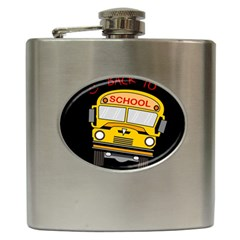 Back To School   School Bus Hip Flask (6 Oz)