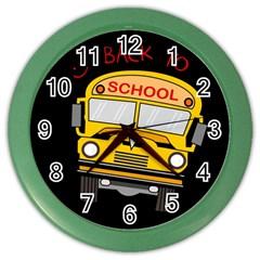 Back To School   School Bus Color Wall Clocks