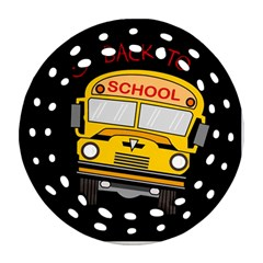 Back To School   School Bus Round Filigree Ornament (two Sides)