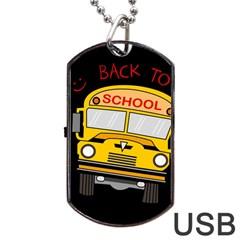 Back To School   School Bus Dog Tag Usb Flash (one Side)
