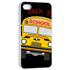 Back To School   School Bus Apple Iphone 4/4s Seamless Case (white)