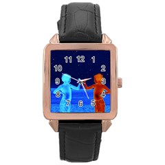 Space Boys  Rose Gold Leather Watch