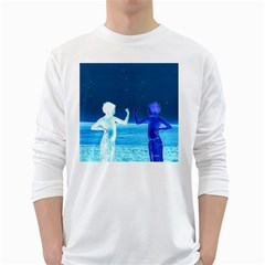 Space Boys  White Long Sleeve T Shirts
