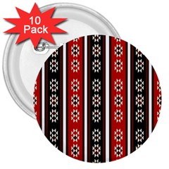 Folklore Pattern 3  Buttons (10 Pack)