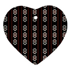 Folklore Pattern Heart Ornament (two Sides)