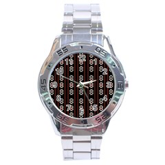 Folklore Pattern Stainless Steel Analogue Watch