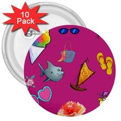 Aloha   Summer Fun 1 3  Buttons (10 Pack)