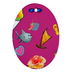 Aloha   Summer Fun 1 Oval Ornament (two Sides)