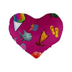 Aloha   Summer Fun 1 Standard 16  Premium Heart Shape Cushions