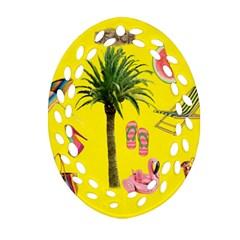 Aloha   Summer Fun 2 Oval Filigree Ornament (two Sides)