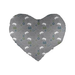 Shave Our Rhinos Animals Monster Standard 16  Premium Heart Shape Cushions